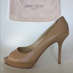Jimmy Choo nude leather Crown peep-toe heels